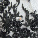 Black Low Price Sequins Beaded On Mesh Fabric