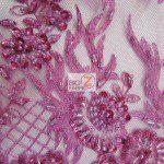 Fuchsia Low Price Sequins Beaded On Mesh Fabric
