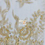 Gold Low Price Sequins Beaded On Mesh Fabric