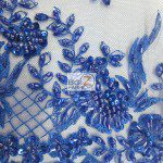 Royal Blue Low Price Sequins Beaded On Mesh Fabric