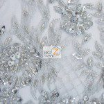 Silver Low Price Sequins Beaded On Mesh Fabric