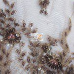 Taupe Low Price Sequins Beaded On Mesh Fabric