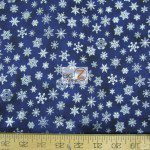 CHRISTMAS COTTON HOLDAY ACCENTS CLASSICS SNOW FLAKES NAVY METALLIC