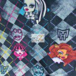 Low Price Monster High Fleece Fabric Checkered Black