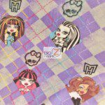 Low Price Monster High Fleece Fabric Checkered Purple