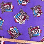Low Price Monster High Fleece Fabric Crest Purple