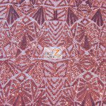 Low Price Geometric Sequins Fabric Red