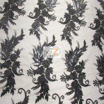 Low Price Angel Floral Sequins Fabric Black