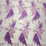 Low Price Angel Floral Sequins Fabric Lavender