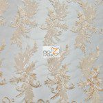 Low Price Angel Floral Sequins Fabric Peach