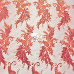 Low Price Angel Floral Sequins Fabric Red