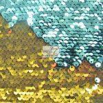 Low Price Reversible Mermaid Sequins Fabric Aqua/Gold