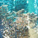 Low Price Reversible Mermaid Sequins Fabric Aqua/Silver