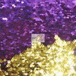 Low Price Reversible Mermaid Sequins Fabric Purple/Gold