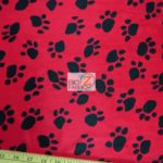 Low Price Paw Velboa Fabric Red