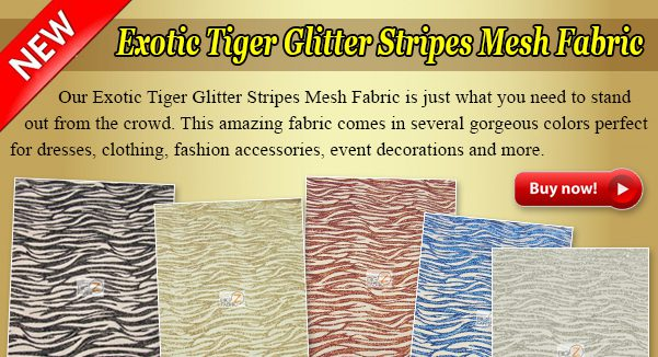 Exotic Tiger Glitter Stripes Mesh Fabric