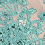 Anastasia Floral Sequins Lace Fabric Aqua