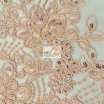 Anastasia Floral Sequins Lace Fabric Coral