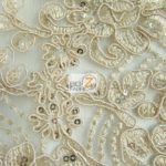 Anastasia Floral Sequins Lace Fabric Light Gold