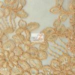 Anastasia Floral Sequins Lace Fabric Orange
