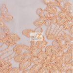 Anastasia Floral Sequins Lace Fabric Peach