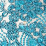 Anastasia Floral Sequins Lace Fabric Turquoise