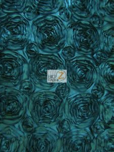 Dark Teal Rosette Style Taffeta Fabric