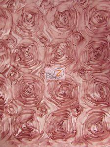 Dusty Rose Rosette Style Taffeta Fabric