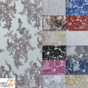 Low Price Sequins Beaded On Mesh Fabric