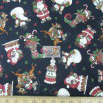 CHRISTMAS COTTON HOLLY JOLLY SANTA IS HERE BLACK BY DAN MORRIS
