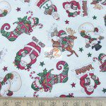 CHRISTMAS COTTON HOLLY JOLLY SANTA IS HERE BY DAN MORRIS
