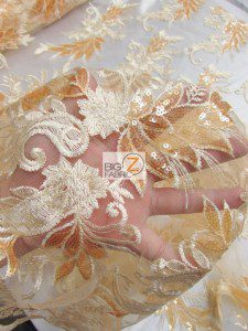 Low Price Angel Floral Sequins Fabric Close Up