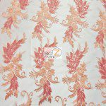 Low Price Angel Floral Sequins Fabric Coral