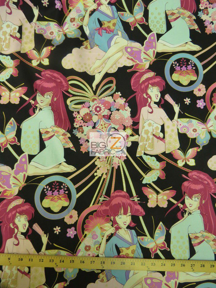 Low Price Asian Miss Butterfly Black Cotton Fabric