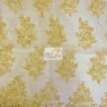Anastasia Floral Sequins Lace Fabric Gold