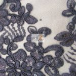 Anastasia Floral Sequins Lace Fabric Navy Blue
