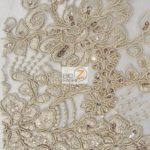 Anastasia Floral Sequins Lace Fabric Taupe