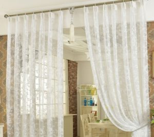 Floral Embroidery Lace Fabric Curtains